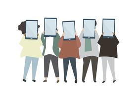Grupo de amigos segurando ilustração digital comprimidos