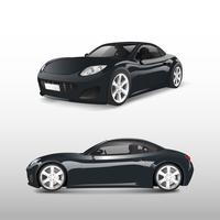 Black sports car isolated on white vector