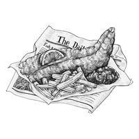 Mão desenhada peixe e batatas fritas