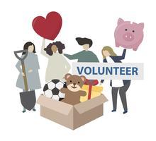 Donazione e volontariato illustrazione servizio di comunità