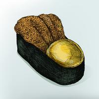 Ilustração de comida japonesa