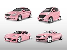 Conjunto de vetores de carros-de-rosa