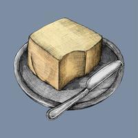 Ilustração de um prato de manteiga