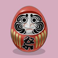 Daruma, en traditionell japansk docka illustration