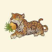Hand gezeichneter Tiger lokalisiert auf gelbem Hintergrund