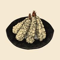 Ilustração, de, legume japonês, prato
