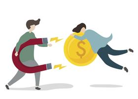 Illustration d'un personnage investissant dans une entreprise