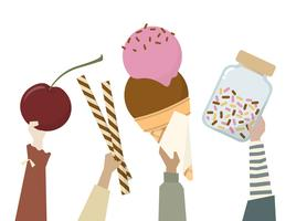 Illustration of diverse people holding sweets