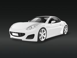 White sports car in a black background vector