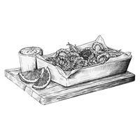 Calamars frits dessinés à la main