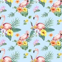 Hand drawn flamingo bird with tropical flowers pattern