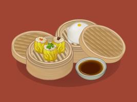 Kinesiska dumplings och bun illustration