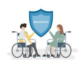 Ilustração de pessoas com serviço de seguro de saúde