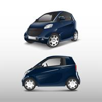 Blue compact hybrid car vector