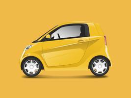 Yellow compact hybrid car vector