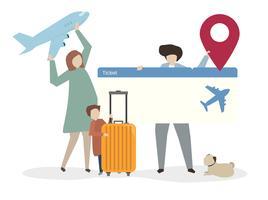 Ilustração, de, família, viajando, junto