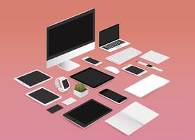 Maquette de bureau définie illustration vectorielle collection sur fond rouge