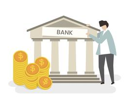 Ilustração, de, um, homem, em, a, banco