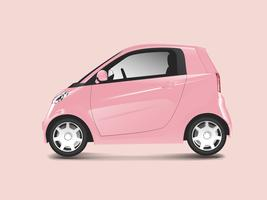 Pink compact hybrid car vector