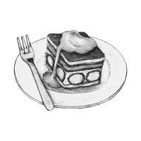 Hand getrokken aardbei shortcake geïsoleerd