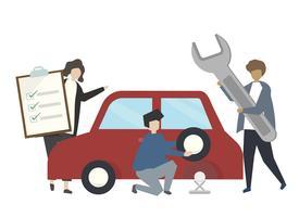 Bil reparation service koncept illustration