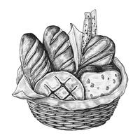 Hand-drawn bread basket isolated
