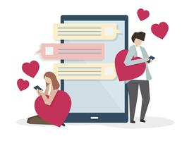 Two lovers messaging online illustration