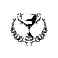 Trophy or cup with leaves illustration