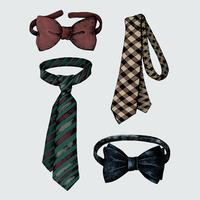 Hand drawn men ties and bow ties