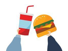 Ilustração de mãos segurando comida lixo