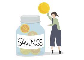 Ilustração de um personagem economizando dinheiro