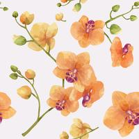 Hand drawn orchid flower pattern
