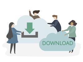 Ilustración de personas descargando información