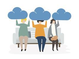 Illustration av folk Avatar Cloud Connection Concept