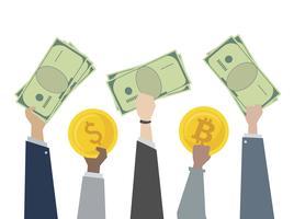 Illustrazione del cambio valuta dei soldi