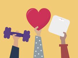Händer som håller hälsosam livsstilsobjekt illustration