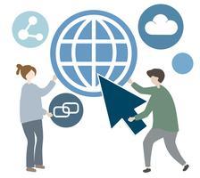 Ilustração de personagem com ícone de comunicação global