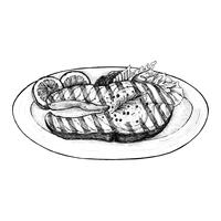 Hand drawn grilled fish steak