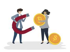 Illustration des Leuteavatarageschäfts-Finanzkonzeptes