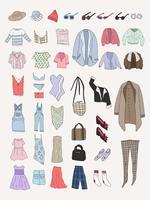 Vettore di diversi tipi di vestiti