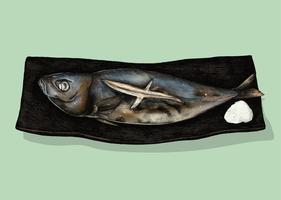 Ilustración del plato de pescado japonés