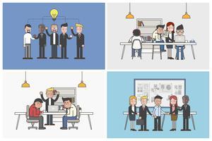 Colección de oficinistas ilustrados en diversas situaciones cotidianas.