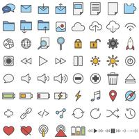 Illustration set of technology icons