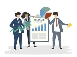 Ilustración del concepto de plan de negocios de avatar de personas