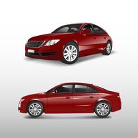 Red sedan car isolated on white vector