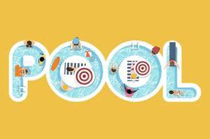 Vektor av sommar känsla design med ordet Pool