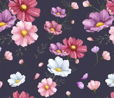 Hand drawn cosmos flower pattern