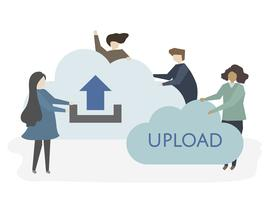 Illustration of people with uploading symbol vector