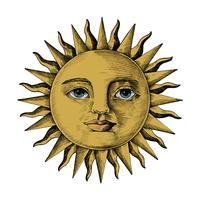 Hand getrokken zon met een gezicht