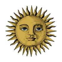 Hand drawn sun with a face